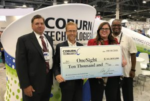 Coburn Technologies donating to OneSight featuring Wayne Labrecque, Director of Sales and President, Alex Incera at Vision Expo West 2019.