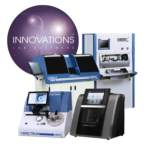 Free Form optical lens lab by Coburn Technologies, featuring Innovations lab software, Cobalt NXT Lens Generator, Cobalt DP Lens Polisher, Spectrum Prismatic Lens Blocker and HPE-8000 Lens Edger.