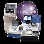 Premier optical lens lab by Coburn Technologies, featuring Innovations lens software, Spectrum prismatic lens blocker, SGX Pro lens generator, Acuity Plus lens polisher and HPE-410 lens edger.