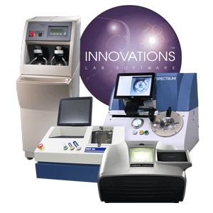 Premier optical lens lab by Coburn Technologies, featuring Innovations lens software, Spectrum prismatic lens blocker, SGX Pro lens generator, Acuity Plus lens polisher and HPE-410 lens edger.