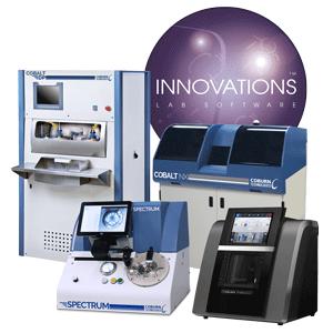 True Form optical lens lab by Coburn Technologies, including Innovations Lens Lab Software, Cobalt DP Lens Polisher, Cobalt NX Lens Generator, Spectrum Prismatic Lens Blocker and HPE-8000 Lens Edger.