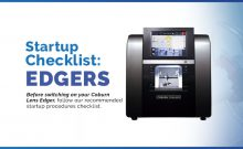 Startup Checklist for the Coburn lens edger after inactive use of the machine.