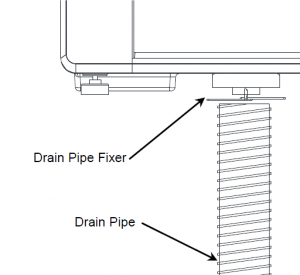 Black and white drawing of drain pipe in a lens edger.