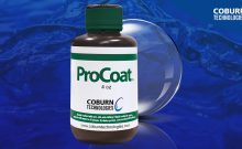 Bottle of ProCoat optical lens coating by Coburn Technologies on a blue background.