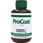 Bottle of ProCoat hard lens coating by Coburn Technologies, brown bottle with white and green label.