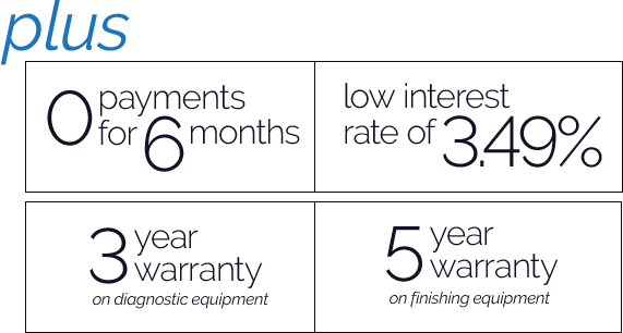 Zero payments for 6 months and low interest rate of 3.49% on in-office lens finishing equipment and ophthalmic diagnostic equipment. Plus a 3 year warranty on diagnostics and 5 year warranty on finishing.