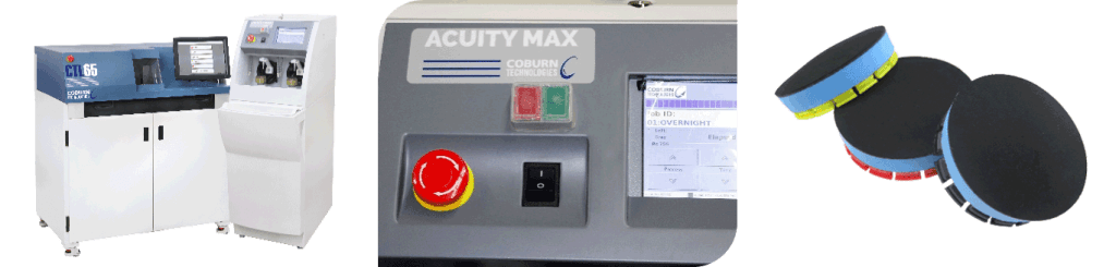 Three images of Acuity Max Soft Lens Polisher features, including a closeup of the screen and soft tool consumables.