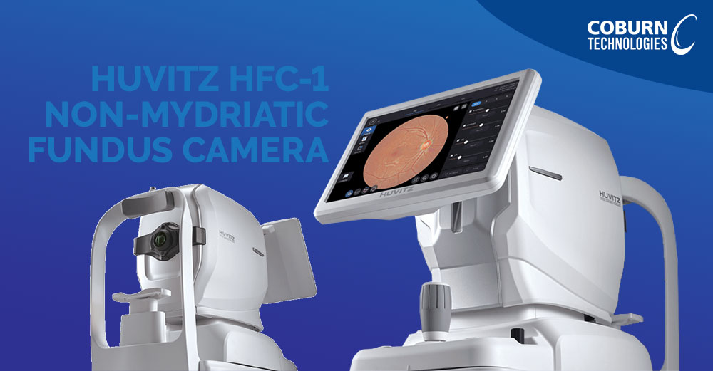 Exterior view of the Huvitz HFC-1 Non-Mydriatic Fundus Camera showing a high quality image of the retina of the eye. Product is white and placed in front of a blue background.