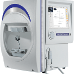 SK-950C Visual Field Analyzer from Coburn Technologies. Also known as an optical perimeter. Latest model from SK-Med. Gray, silver and blue tabletop machine for eyecare practices and optometry purposes.